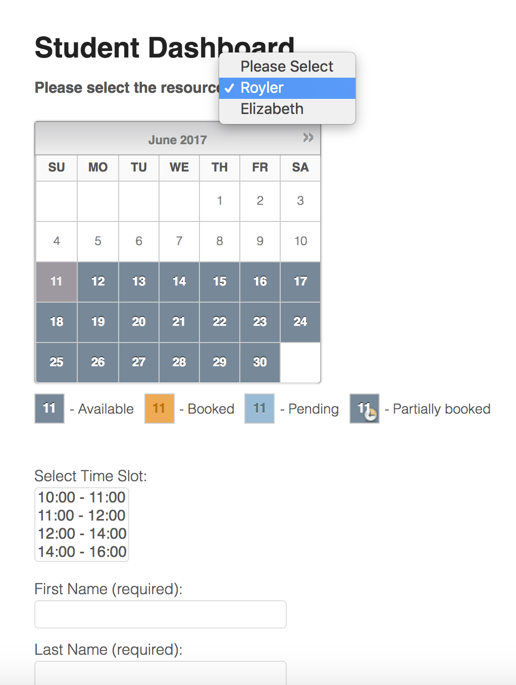 booking calendar of resources
